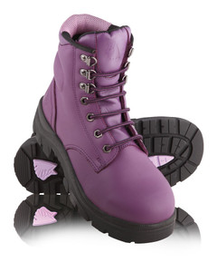 Steel Blue ARGYLE Ladies Lace Up Steel Cap Boots Purple