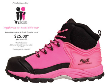 Mack Boots Jane - McGrath Foundation Donation High Vis Athletic Lace Up Non Slip Hiker with Composite Toe Cap