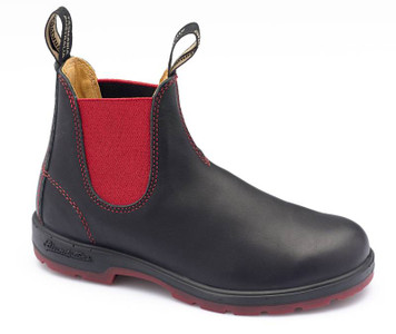 Blundstone Urban 1316 Leather Lined Black Leather Boots With Red Elastic and Stitching