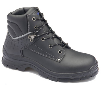 Blundstone 312 Black waxy leather lace up steel toe safety boot with padded collar and tongue