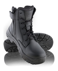 Steel Blue Leader Slim Fit Zip Sided Lace Up Soft Toe Tactical Response Enforcement Boots Black