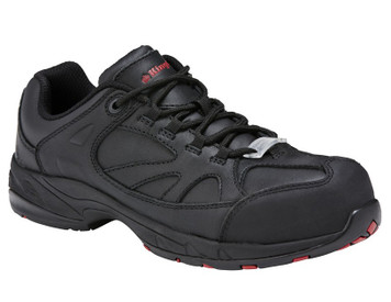 KingGee Comp Tech Womens Safety Work Shoes in Black Full Grain Leather