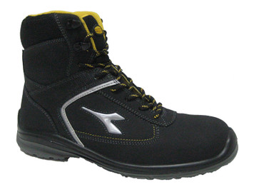 Diadora Utility Bassano Hi Black and Yellow Safety Shoes with Toe Cap