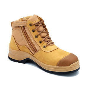 Blundstone 318 zip sided hiking style work boots with steel toe cap, toe scuff guard and anti bacterial lining in wheat nubuk leather.
