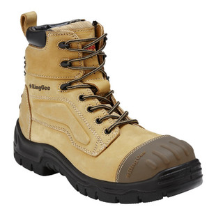 KingGee Phoenix 6 Inch Leather Zip Sided Steel Toe Safety Work Boots Wheat