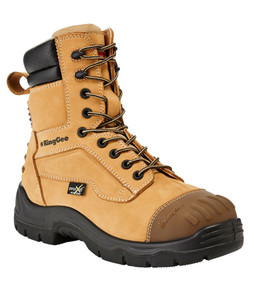 KingGee Phoenix 8 Inch Wheat Leather Zip Sided Steel Toe Safety Work Boots