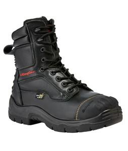 KingGee Phoenix 8 Inch Black Leather Zip Sided Steel Toe Safety Work Boots