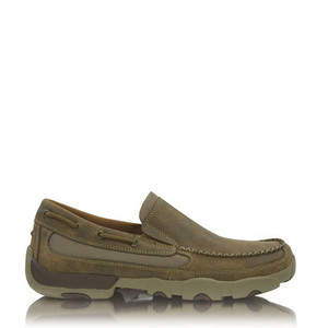 Twisted X Mens Cowboy Casual Slip On Boat-Driving Mocs in Bomber Leather