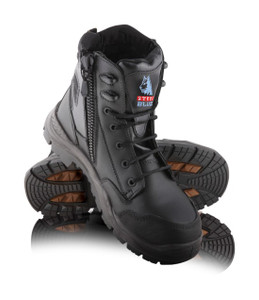 Steel Blue Torquay Lace-Up Boot with Airport Friendly Toe Cap and Nitrile Outsole