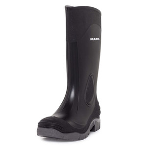 Mack Pump Gumboots with steel toe cap, black and grey