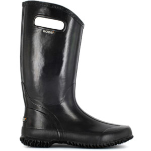BOGS Rainboot Soft Natural Rubber Womens Gumboots With Pull Handles in Black