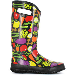 BOGS Rainboot Soft Natural Rubber Womens Gumboots With Pull Handles in Black Multi
