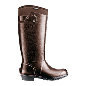 BOGS Rider Embossed Womens Insulated Wellingtons-Gumboots in Chocolate