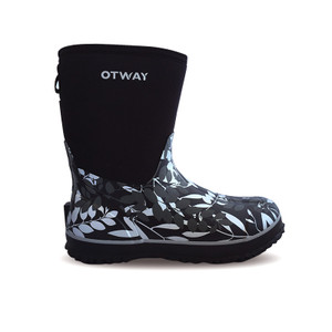 Otway Stroller Mid Insulated Ladies Waterproof Gumboots in Leaves Silver