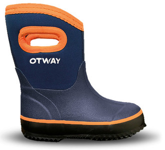 Otway Steamroller Mid Kids Insulated Waterproof Gumboots in Navy and Yellow
