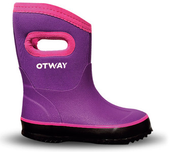 Otway Steamroller Mid Kids Insulated Waterproof Gumboots in Purple and Pink