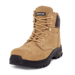 Mack Boots Carpenter Zip Sided Lace Up Steel Cap Work Boots Honey