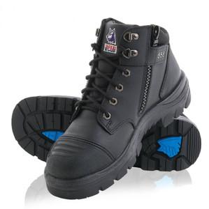 Steel Blue Parkes Zip Midcut Lace Up Zip Sided Steel Cap Boots Black