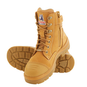 Steel Blue Southern Cross Zip Sided Lace Up Boots With Scuff Cap - Wheat