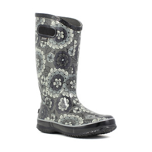 BOGS Rainboot Soft Natural Rubber Womens Gumboots With Pull Handles in Pansie Grey