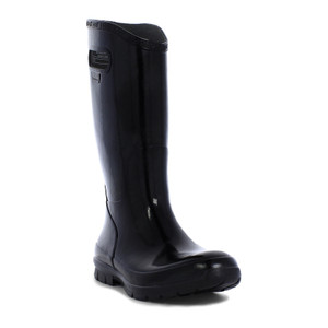 BOGS Berkley Soft Natural Rubber Womens Gumboots With Pull Handles in Black
