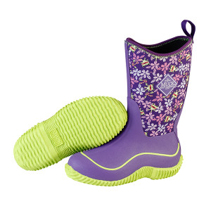 Muck Boots Hale Kids Insulated Waterproof Gumboots in Purple Frogs
