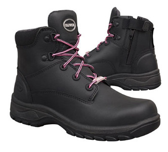Oliver Boots 49-445Z Women's Ankle Height Lace Up Zip Sided Safety Boots