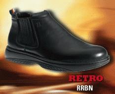 Redback Retro, slip on black nappa Retro boot
