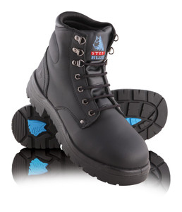 Steel Blue ARGYLE 145mm High Lace Up Steel Cap Ankle Boot Black