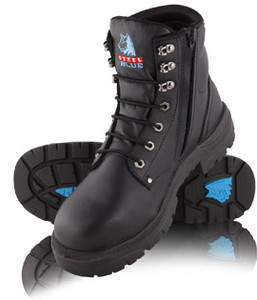 Steel Blue ARGYLE Zip 150mm High Lace Up with Zip, Steel Cap Boot Black