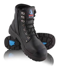 Steel Blue ARGYLE Zip TPU With Bump Cap, Steel Cap Boot Black