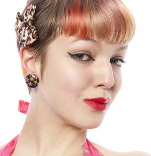 Satin Bow Clips by Sourpuss & our own Hey Viv ! Button Earrings