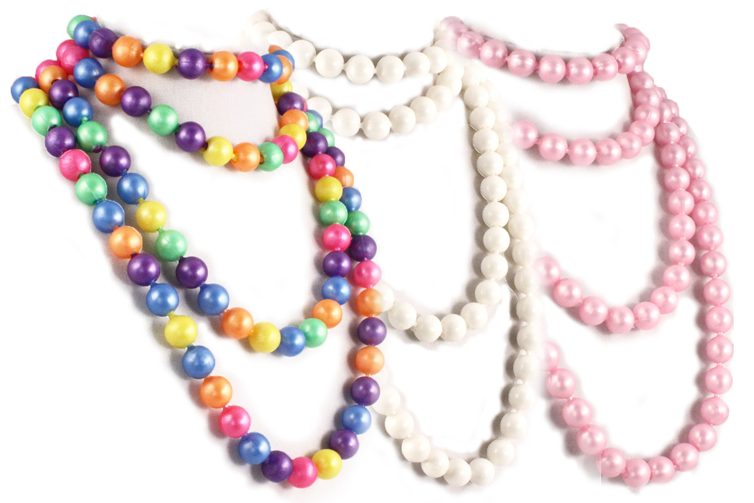 Pop Beads in rainbow colors, white and pink.  Fun to make and wear.