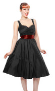 50s Style Sash Dress - Black Satin