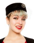 Hey Viv ! Retro Wool Felt Black Pillbox Hat w/ Veil & Rhinestone Brooch