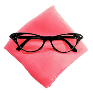 Hey Viv Cat eye Glasses and Pink Scarf