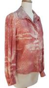 70s Sunset Peach Glam Glitter Blouse - Sz L