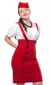 Hey Viv ! Suspender Pencil Skirt in Red