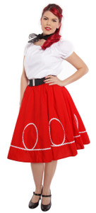 Hey Viv ! Retro Circle Swing Skirt with Ric Rac Loops Trim - Red