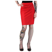 Hey Viv ! Red and Black Polka Dot Pencil Skirt