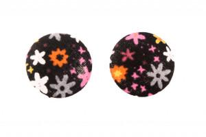 Hey Viv ! Retro Button Earrings - Black Confetti