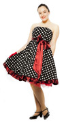 50s Strapless Dress - Pin Up Polka Dots with Sash