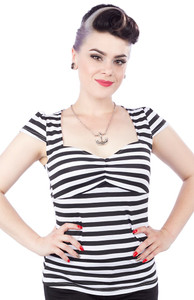 Hey Viv ! Vavavoom !  Fitted Black & White Stripe Top