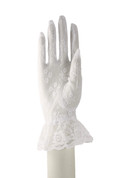 Retro white lace gloves with ruffle