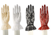 Lace Gloves with Wrist Ruffle