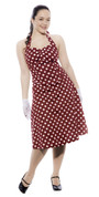 Red Polka Dot Halter Dress