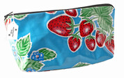 Sweet Strawberry Oilcloth Clutch Makeup Bag by Miriam Garber
