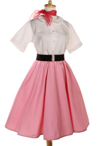 Peggy Sue Circle Skirt in Pink with Cinch Belt
