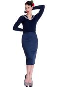 Frankie Navy Blue Pencil Skirt