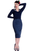 Frankie Navy Blue Pencil Skirt